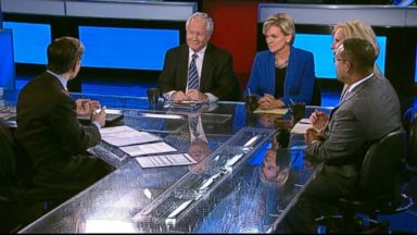 PHOTO: ABC News Contributor and The Weekly Standard Editor Bill Kristol, The Wall Street Journal Columnist Peggy Noonan, Former Michigan Governor (D) Jennifer Granholm, Rep. Keith Ellison (D) Minnesota on This Week