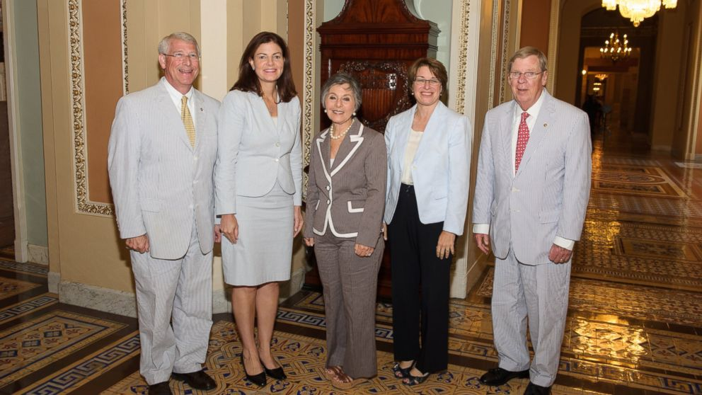 "PHOTO: Senators posed for a photo at the Ohio Clock on ""Seersucker Thursday�"
