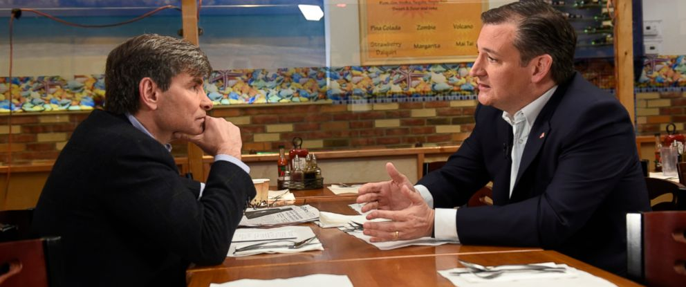 PHOTO: Republican candidate Ted Cruz sits down with ABC News George Stephanopoulos for an interview in New York, April 6, 2016.