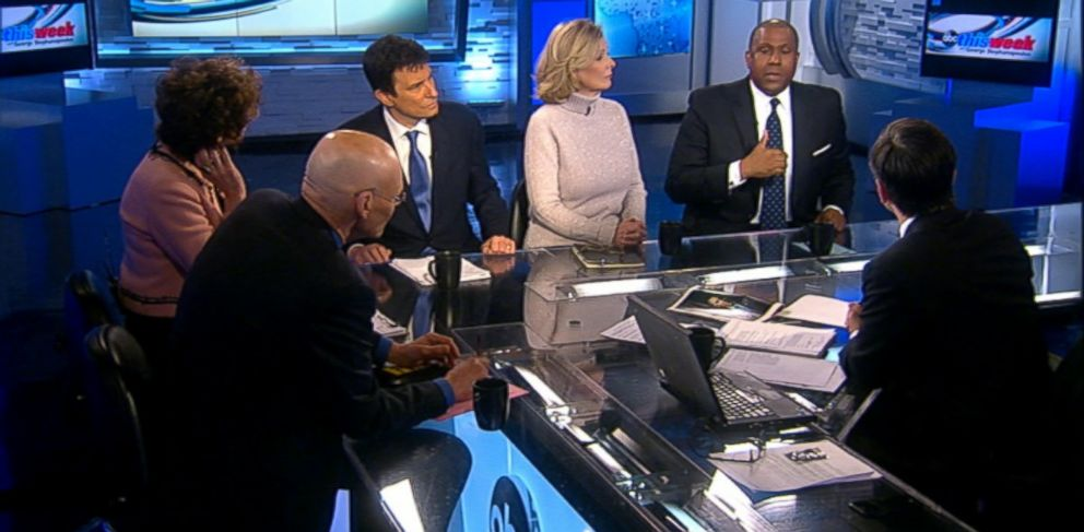 PHOTO: Democratic Strategist James Carville, Republican Strategist Mary Matalin, The Wall Street Journal Columnist Peggy Noonan, The New Yorker Editor David Remnick, and Television and Radio Host Tavis Smiley on This Week