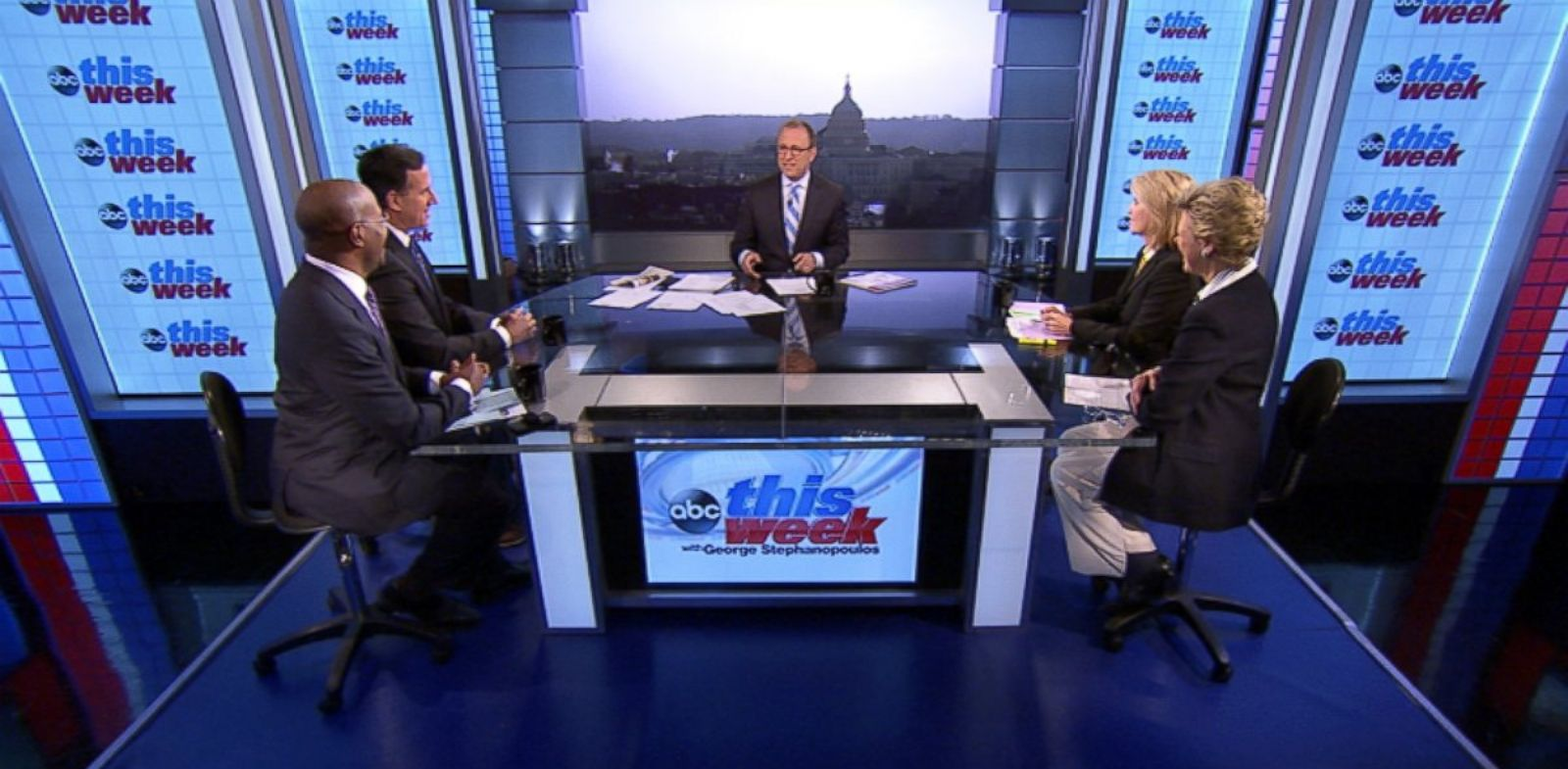 "PHOTO: ABC News Cokie Roberts, Yahoo News National Political Columnist Matt Bai, CNNs ""Crossfire"" Co-Host Van Jones, Former U.S. Senator (R-PA) Rick Santorum and Fox News Anchor Greta Van Susteren on This Week"