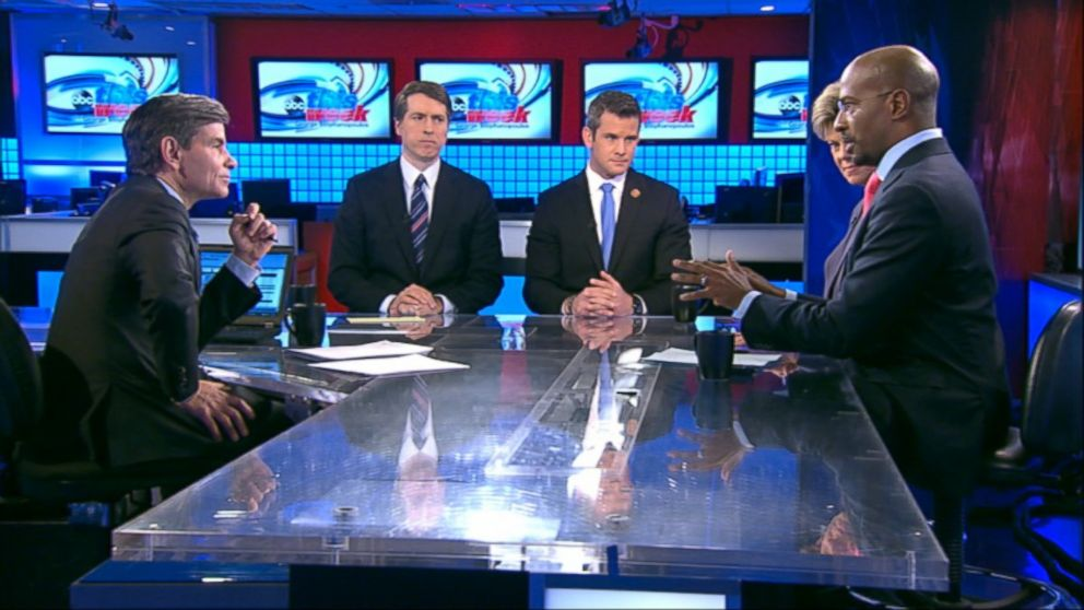 "PHOTO: CNNs ""Crossfire"" Co-Host Van Jones, Rep. Adam Kinzinger (R) Illinois, National Review Editor Rich Lowry and ABC News Cokie Rober"