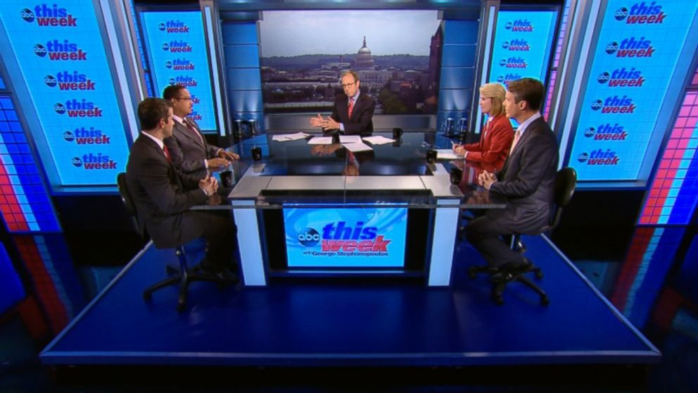 PHOTO: Rep. Keith Ellison (D) Minnesota, Rep. Adam Kinzinger (R) Illinois, ABC News Chief Foreign Correspondent Terry Moran, and Fox News Anchor Greta Van Susteren on This Week.