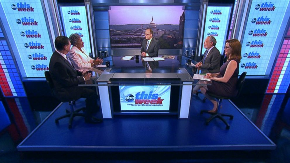 "PHOTO: Rep. Tom Cole (R) Oklahoma, CNNs ""Crossfire"" Co-host S.E. Cupp, Former Clinton Labor Secretary Robert Reich, and ABC News Contributor and Democratic Strategist Donna Brazile on This Week"