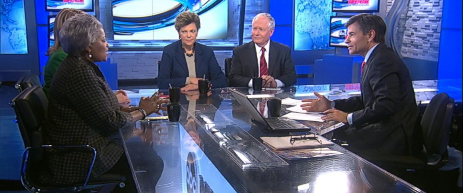 PHOTO: ABC News Contributor and Democratic Strategist Donna Brazile, ABC News Contributor and The Weekly Standard Editor Bill Kristol, ABC News Cokie Roberts, and Republican Strategist and CNBC Contributor Sara Fagen on This Week