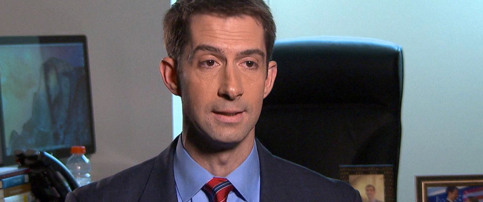 PHOTO: Tom Cotton Speaks with Jon Karl.