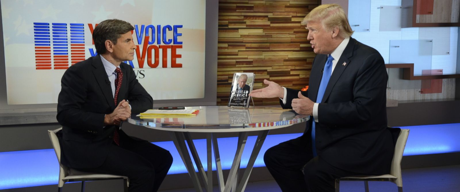 "PHOTO: Donald Trump speaks with George Stephanopoulos live on ""Good Morning America"" in Times Square, New York, Nov. 3, 2015."