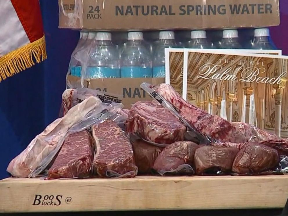 PHOTO: A display of Trump steaks, wrapped in plastic with the words Bush Brothers imprinted, is seen before Donald Trump speaks at a campaign press conference event in Jupiter, FL, March 08, 2016.