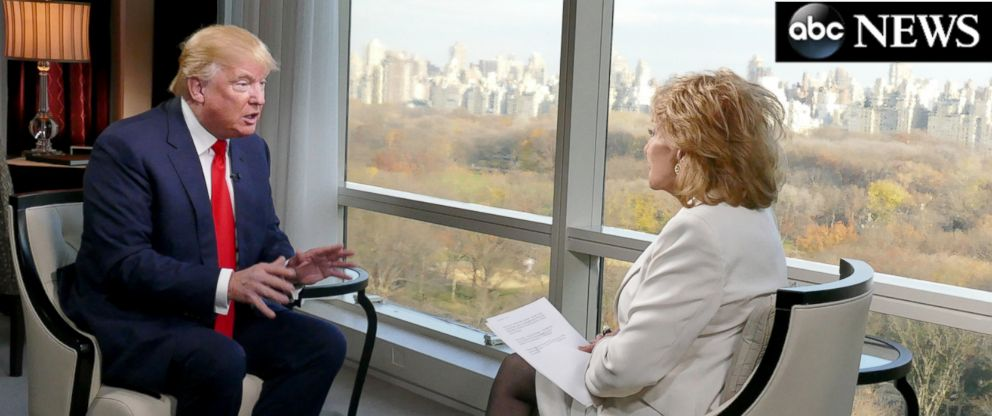 PHOTO: Donald Trump sat down for an interview with ABCs Barbara Walters on Dec. 8, 2015.