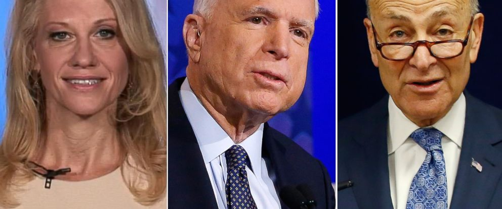 PHOTO: Pictured (L-R) are Kellyanne Conway in New York, Dec. 2, 1016, Sen. John McCain in Phoenix, Oct. 10, 2016 and Sen Charles Schumer in New York, April 4, 2016.