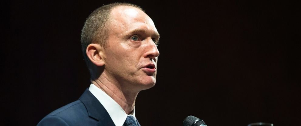 PHOTO: Carter Page, then adviser to U.S. Republican presidential candidate Donald Trump, speaks at the graduation ceremony for the New Economic School in Moscow, July 8, 2016.