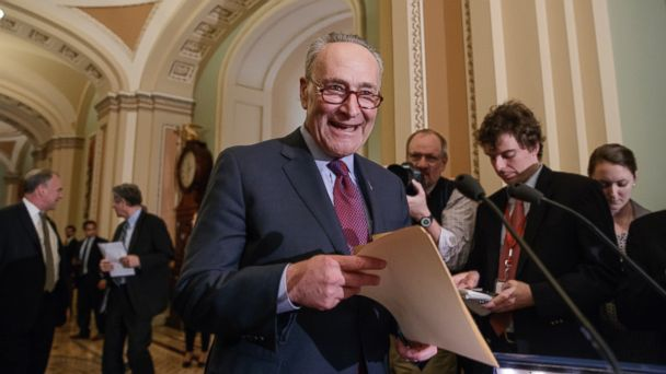 PHOTO: Senate Minority Leader Chuck Schumer of N.Y. arrives to speak with reporters about his opposition to Supreme Court nominee Neil Gorsuch, on March 21, 2107, on Capitol Hill in Washington.