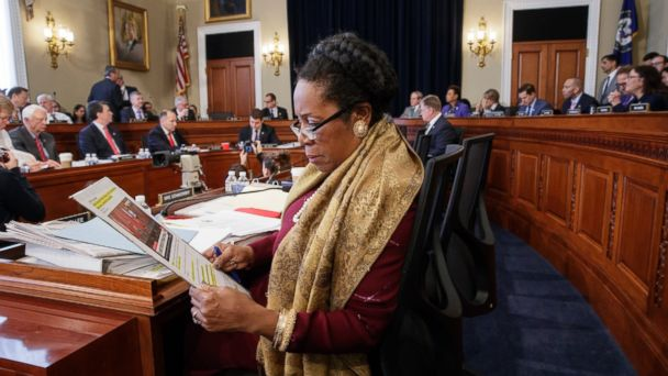 PHOTO: Rep. Sheila Jackson Lee, D-Texas, and the House Budget Committee works on the Republican health care bill, on Capitol Hill in Washington, March, 16, 2017.