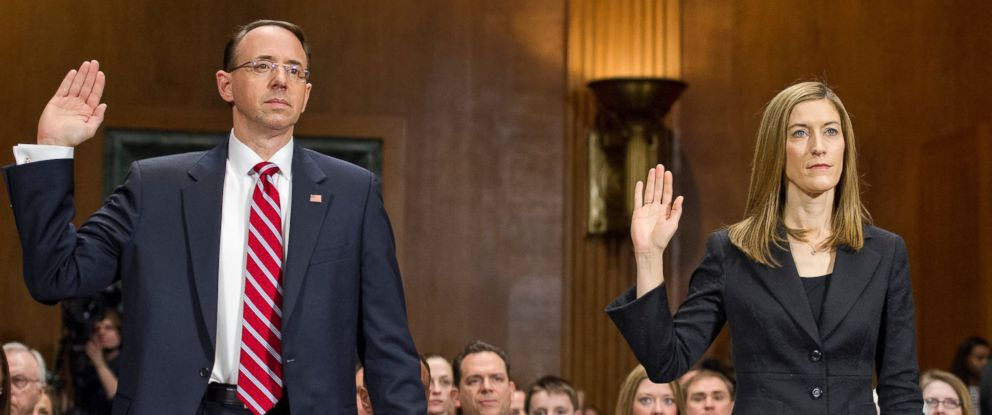 PHOTO: Rod J. Rosenstein, left, and Rachel L. Brand, are sworn-in before the US Senate Committee on the Judiciary on their nominations to serve in the US Department of Justice, March 7, 2017.