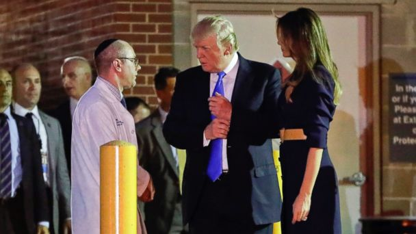 PHOTO: President Donald Trump and first lady Melania Trump talk with Dr. Ira Y. Rabin after visiting MedStar Washington Hospital Center in Washington, June 14, 2017, where House Majority Leader Steve Scalise of La. was taken after being shot.