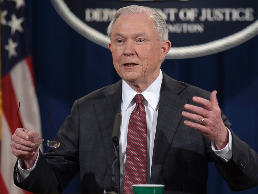 PHOTO: Attorney General Jeff Sessions speaks during a news conference at the Justice Department, March 2, 2017, in which he said he will recuse himself from a federal investigation into Russian interference in the 2016 White House election.