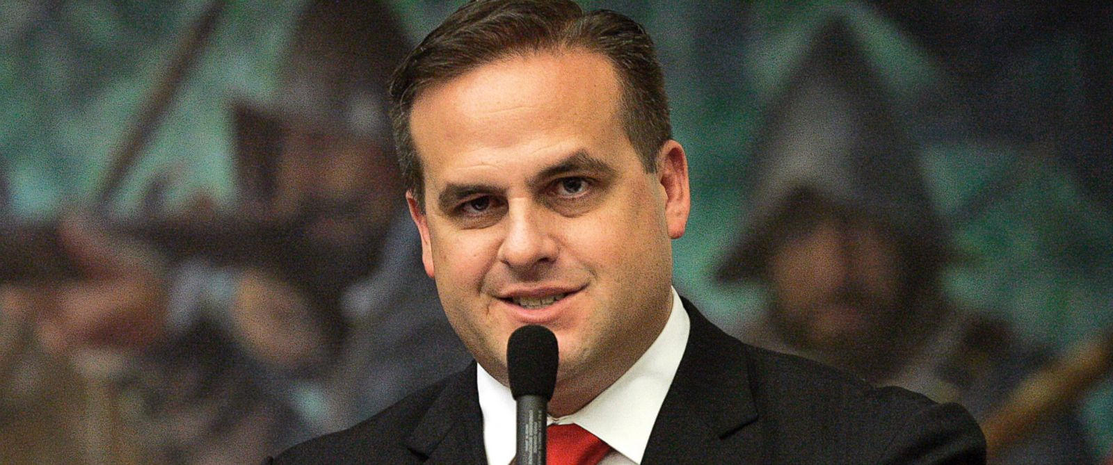 PHOTO: Republican state senator Frank Artiles asks a questions about a pip insurance bill during house session in Tallahassee, Fla., March 9, 2012.
