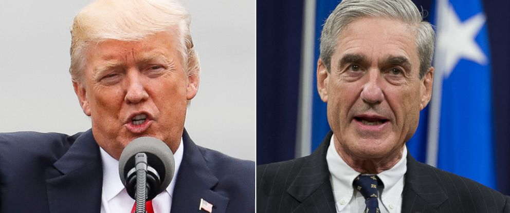 PHOTO: Pictured (L-R) are President Donald Trump in Cincinnati, June 7, 2017 and Robert Mueller at the Department of Justice, August 1, 2013.