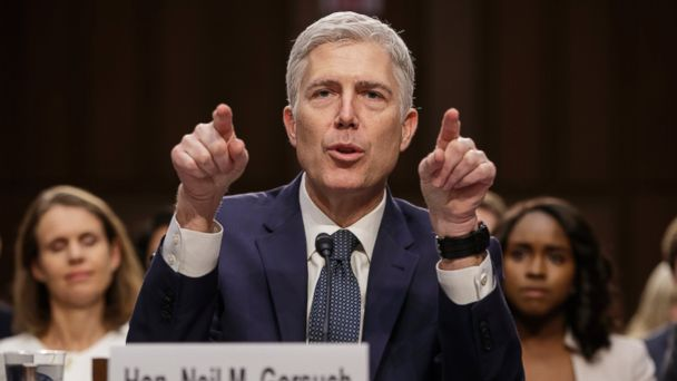 PHOTO: Supreme Court Justice nominee Neil Gorsuch testifies on Capitol Hill in Washington, March 22, 2017, at his confirmation hearing before the Senate Judiciary Committee.
