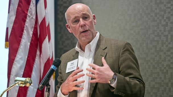 PHOTO: Greg Gianforte speaks during the Business to Business Luncheon in Bozeman, Mont. on March 23, 2015.