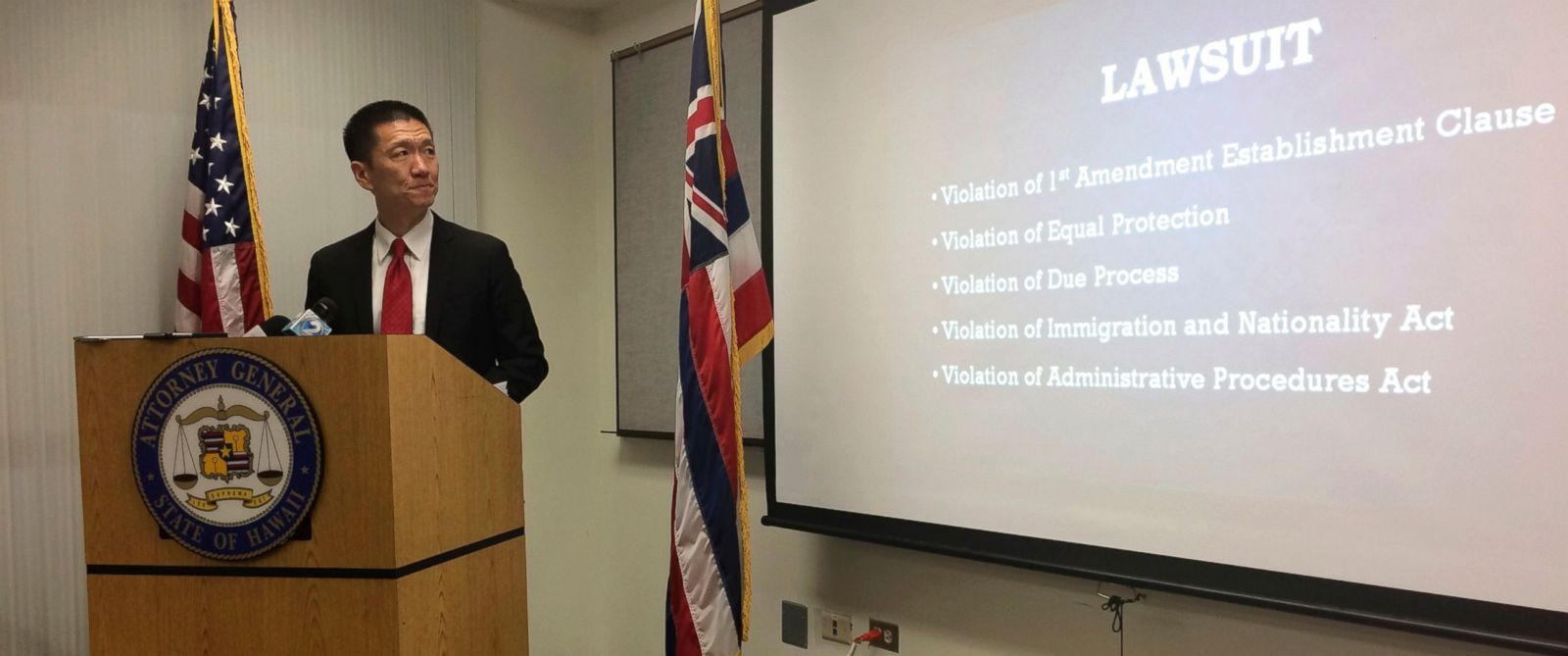 PHOTO: Hawaii Attorney General Doug Chin speaks at a news conference in Honolulu on Feb. 3, 2017, announcing the state of Hawaii has filed a lawsuit challenging President Donald Trumps travel ban.