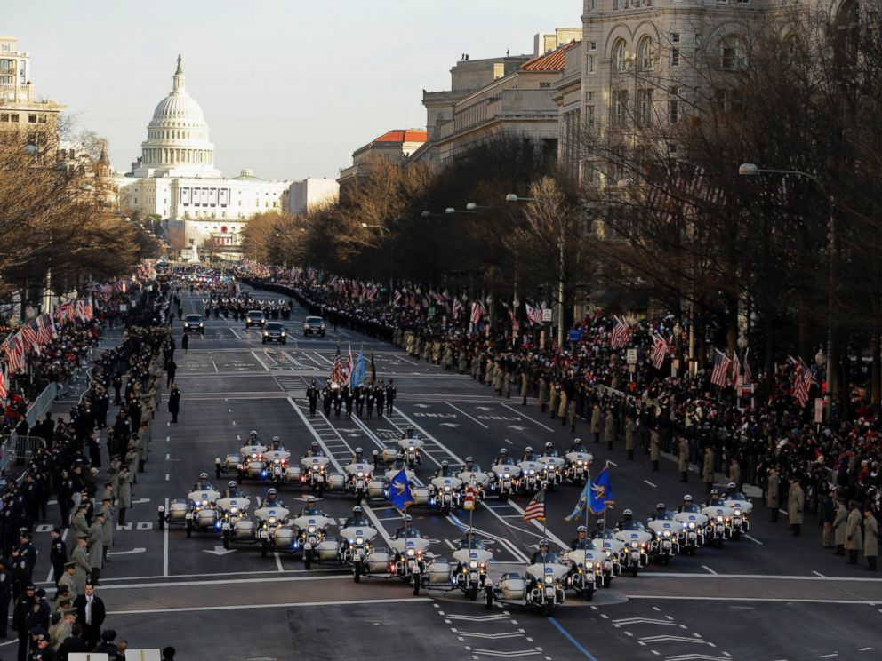 PHOTO: The 57th Presidential Inaugural Parade rolls down Pennsylvania Avenue from Capitol Hill in Washington, Jan. 21,2013, following President Barack Obamas ceremonial swearing-in ceremony during the 57th Presidential Inauguration.