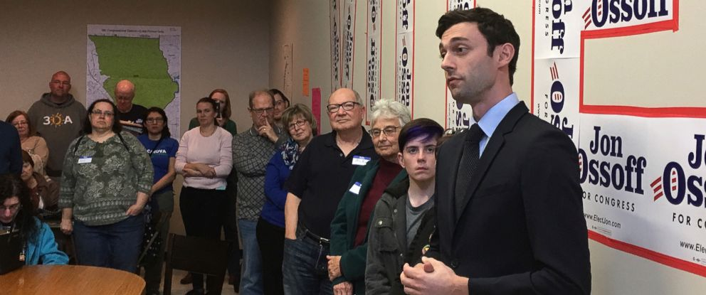 PHOTO: Georgia Democratic congressional candidate Jon Ossoff speaks to volunteers in his Cobb County campaign office, March 11, 2017. Ossoff is trying for an upset in a Republican-leaning district outside Atlanta.