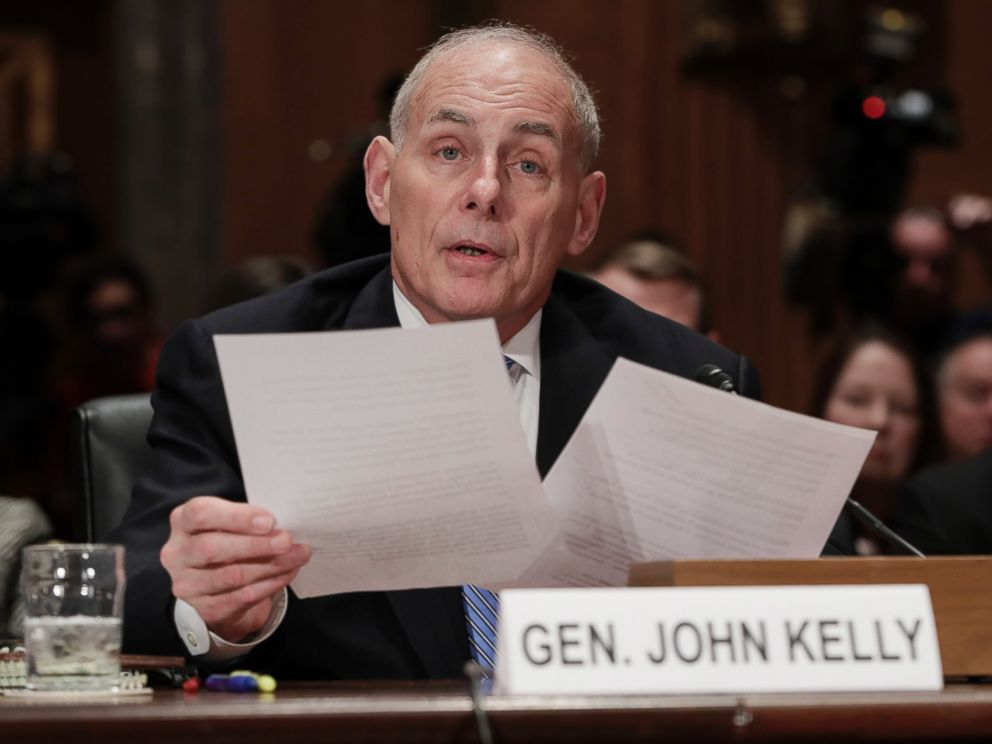 PHOTO: Homeland Security Secretary-designate John Kelly testifies on Capitol Hill in Washington, D.C. Jan. 10, 2017, at his confirmation hearing before the Senate Homeland Security and Governmental Affairs Committee.