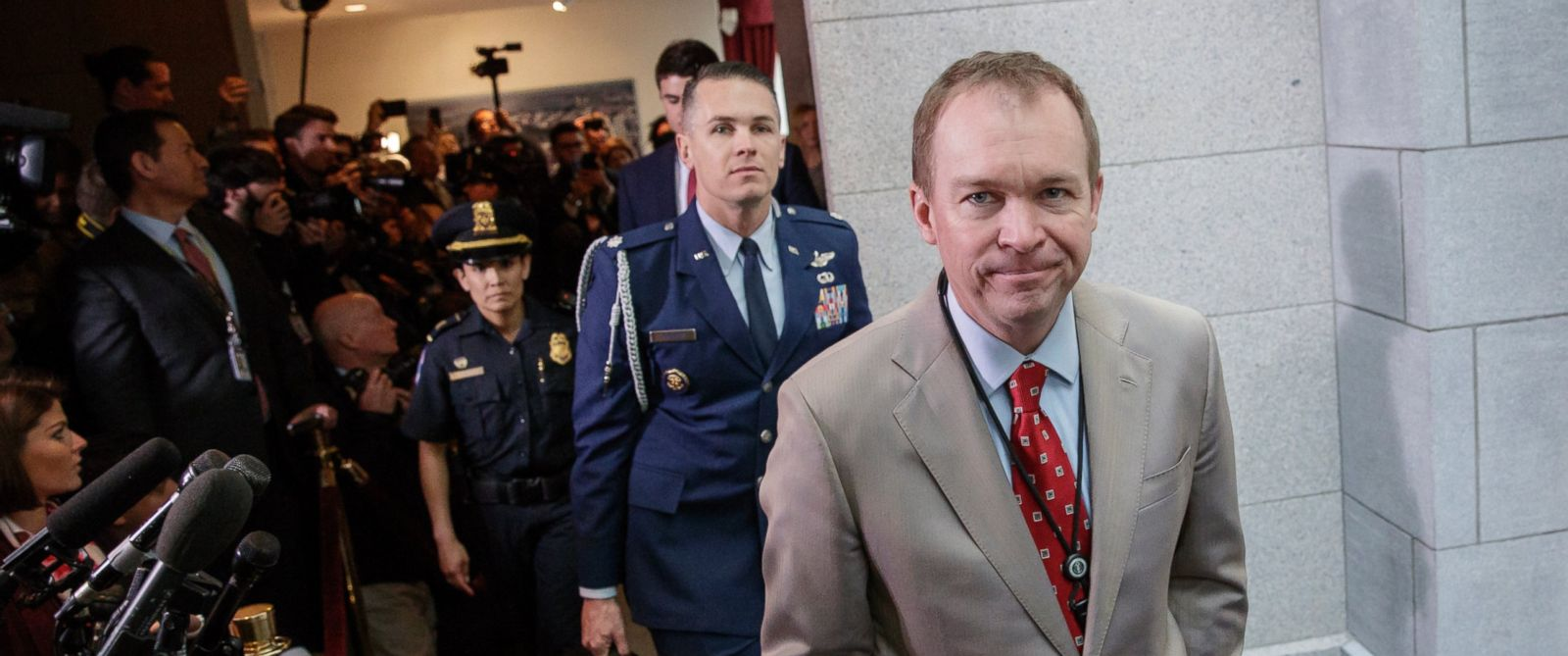 PHOTO: Budget Director Mick Mulvaney arrives on Capitol Hill in Washington, March 21, 2017, as President Donald Trump rallied support for the Republican health care overhaul by taking his case directly to GOP lawmaker.