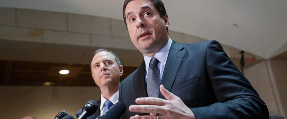 PHOTO: House Intelligence Committee Chairman Rep. Devin Nunes, R-Calif., right, accompanied by the committees ranking member, Rep. Adam Schiff, D-Calif., talk to reporters, on Capitol Hill in Washington, March, 15, 2017.