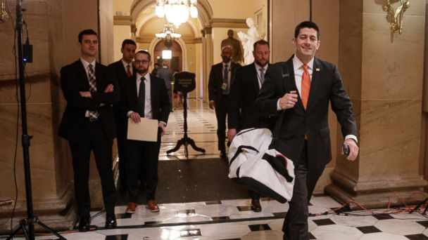 PHOTO: House Speaker Paul Ryan of Wis. strides to his office on Capitol Hill in Washington, on March 23, 2017, as he and the Republican leadership scramble for votes on their health care overhaul in the House Freedom Caucus.