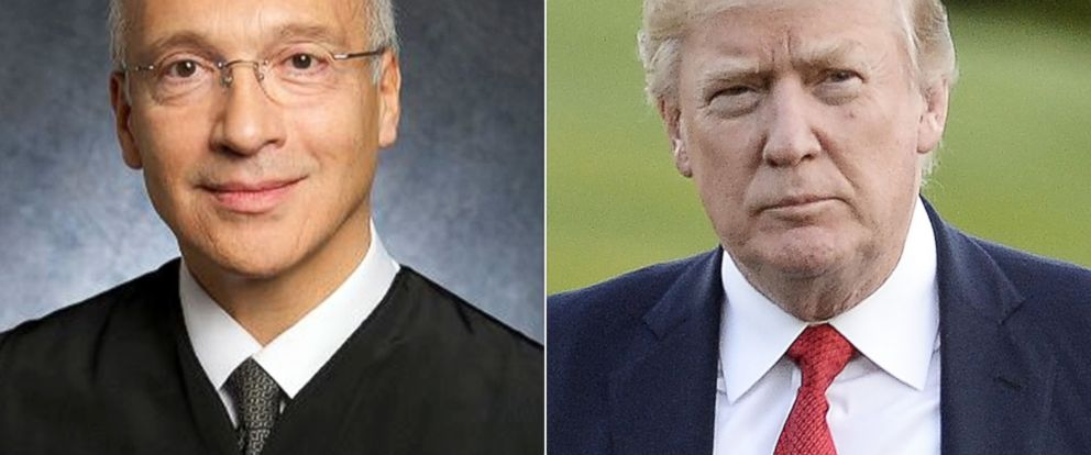 PHOTO: This undated photo provided by the U.S. District Court shows Judge Gonzalo Curiel | U.S. President Donald Trump arrives at the White House, April 9, 2017, in Washington.