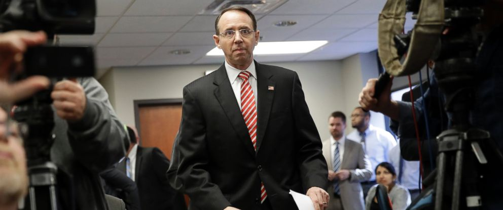 PHOTO: U.S. Attorney for the District of Maryland Rod J. Rosenstein arrives at a news conference in Baltimore, on March 1, 2017, to announce that seven Baltimore police officers who worked on a firearms crime task force are facing charges.