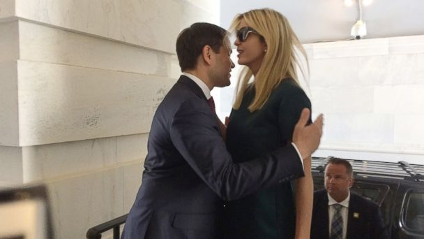 PHOTO: Ivanka Trump, daughter of President Donald Trump, is greeted by Sen. Marco Rubio, R-Fla., as she arrives at the Capitol to meet with lawmakers about parental leave, in Washington, June 20, 2017.
