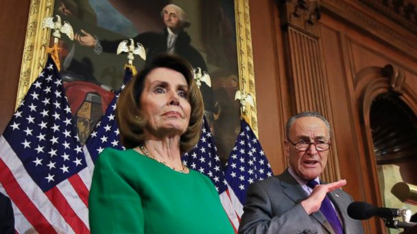 PHOTO: Senate Minority Leader Charles Schumer of N.Y., with House Minority Leader Nancy Pelosi of Calif., speaks to reporters about President Donald Trump's first 100 days, during a news conference on Capitol Hill in Washington, April 28, 2017.