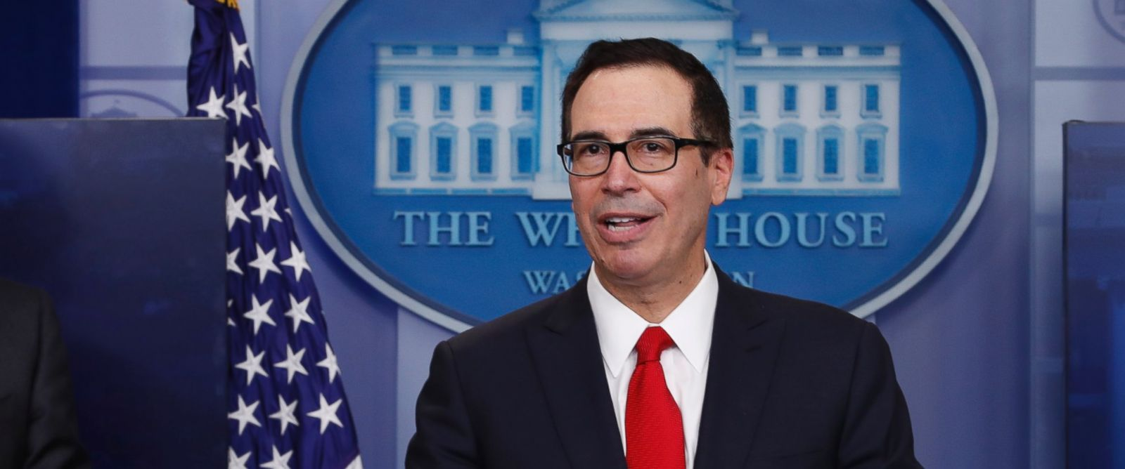 PHOTO: Treasury Secretary Steven Mnuchin, joined by National Economic Director Gary Cohn, speaks in the briefing room of the White House in Washington, April 26, 2017.