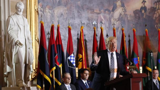 PHOTO: President Donald Trump speaks on Capitol Hill during the United States Holocaust Memorial Museum's National Days of Remembrance ceremony,April 25, 2017, in Washington.