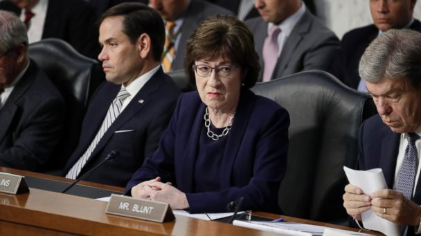 PHOTO: Sen. Marco Rubio, R-Fla., Sen. Susan Collins, R-Maine, and Sen. Roy Blunt, R-Mo., listens as Attorney General Jeff Sessions testifies before the Senate Select Committee, on Capitol Hill, June 13, 2017, in Washington.