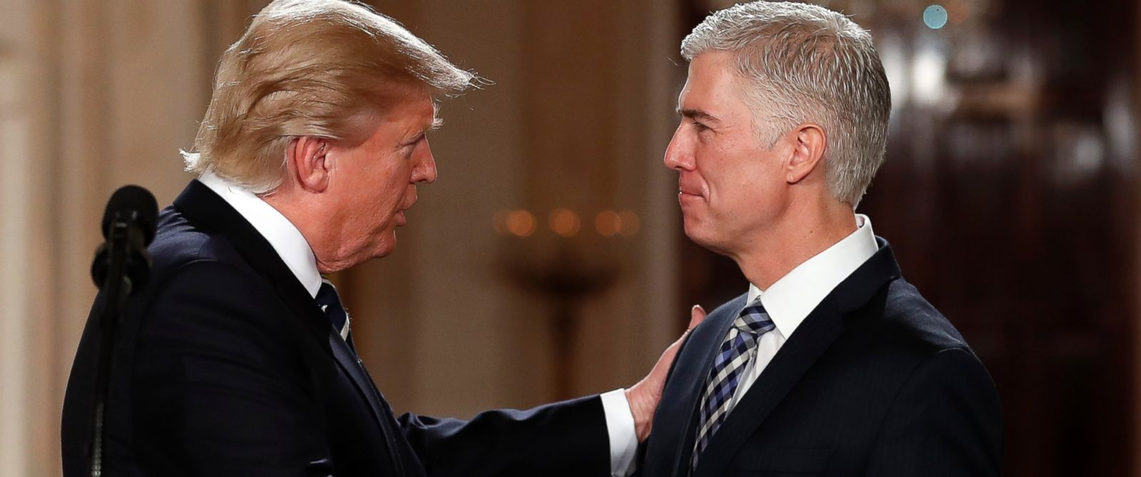 PHOTO: President Donald Trump shakes hands with 10th U.S. Circuit Court of Appeals Judge Neil Gorsuch, his choice for Supreme Court Justices in the East Room of the White House in Washington, Jan. 31, 2017.