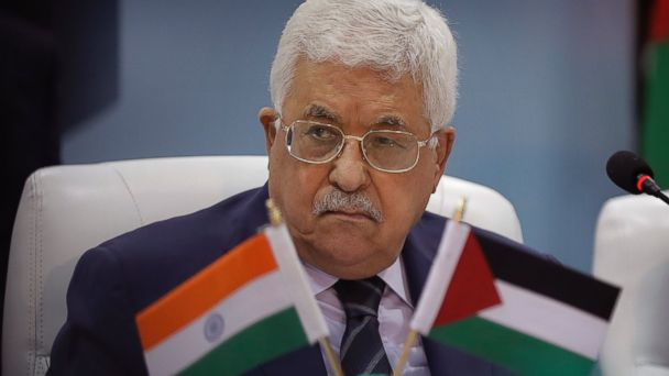 PHOTO: Palestinian President Mahmoud Abbas listens to a speaker during his visit to the Centre for Development of Advance Computing in Noida on the outskirts of New Delhi, India, May 15, 2017.