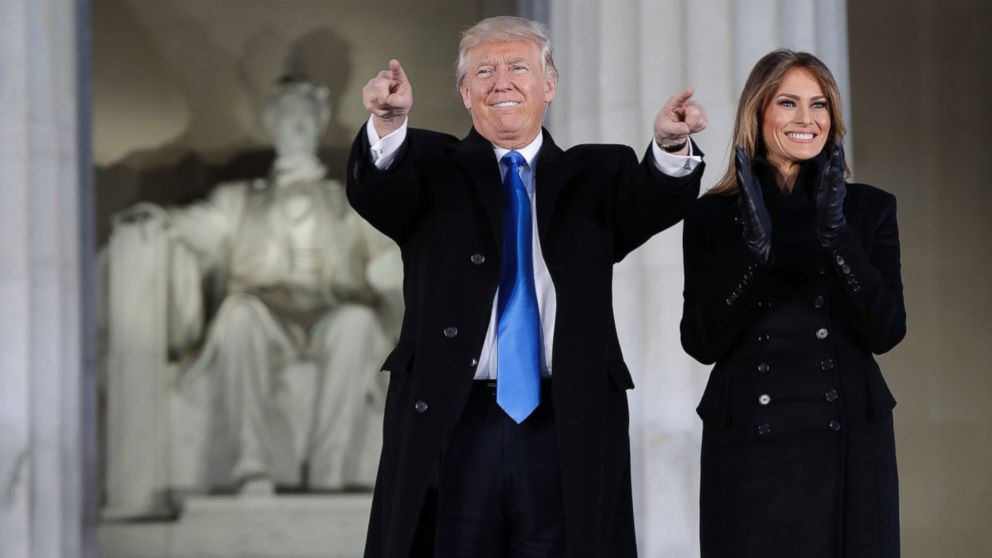 "PHOTO: President-elect Donald Trump and his wife Melania Trump arrive at a pre-Inaugural ""Make America Great Again! Welcome Celebration"" at the Lincoln Memorial in Washington, Jan. 19, 2017."