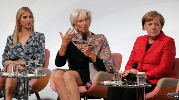 PHOTO: Ivanka Trump, daughter and adviser of U.S. President Donald Trump, International Monetary Fund Managing Director Christine Lagarde and German Chancellor Angela Merkel, discuss during a panel of the W20 Summit in Berlin, April 25, 2017.