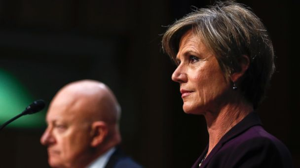 PHOTO: Former acting Attorney General Sally Yates, right, and former National Intelligence Director James Clapper, listen on Capitol Hill in Washington, Monday, May 8, 2017, while testifying before the Senate Judiciary subcommittee.
