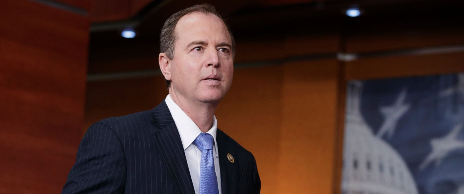 PHOTO: Rep. Adam Schiff, ranking member of the House Intelligence Committee, arrives to meet with reporters, Feb. 27, 2017, on Capitol Hill in Washington.