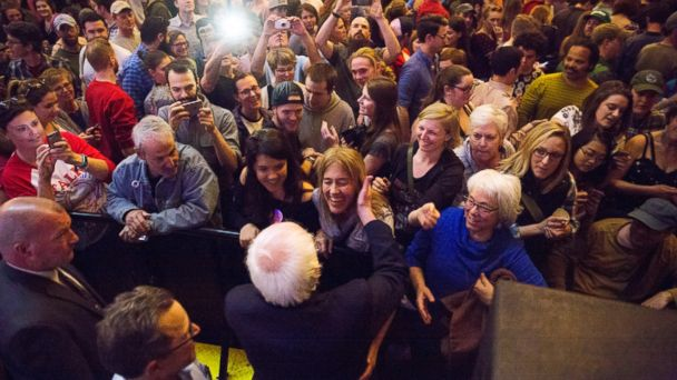 PHOTO: In this April 17, 2017, photo former presidential candidate Bernie Sanders greets the crowd at a packed State Theater at the