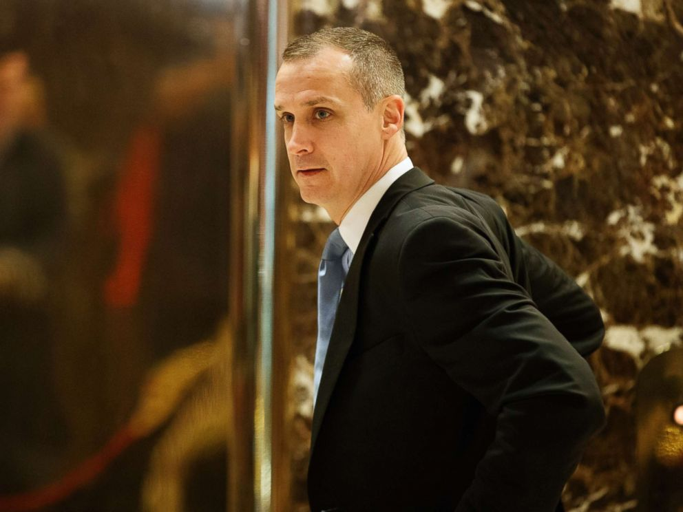 PHOTO: Corey Lewandowski, former campaign manager for President-elect Donald Trump, talks with reporters as he arrives at Trump Tower, Nov. 29, 2016, in New York.