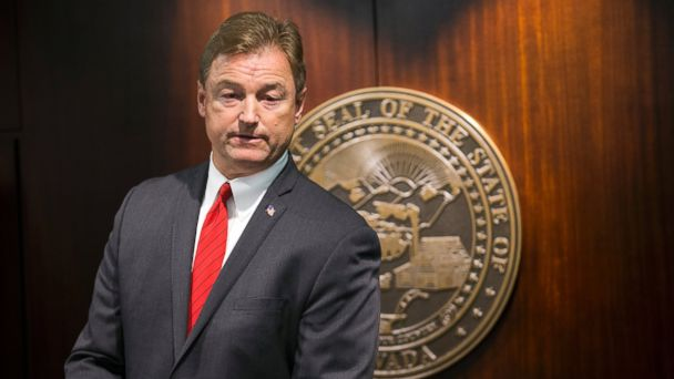PHOTO: Sen. Dean Heller is pictured during a press conference where he announced he will vote no on the proposed GOP healthcare bill at the Grant Sawyer State Office Building, June 23, 2017 in Las Vegas.