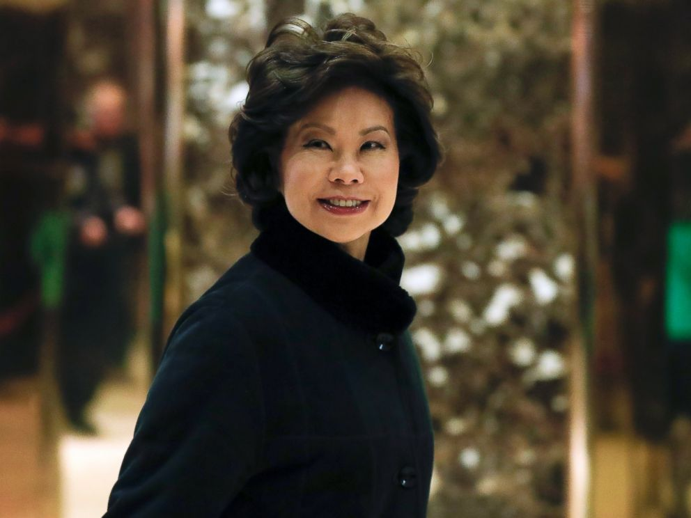 PHOTO: Former Labor Secretary Elaine Chao arrives at Trump Tower, Nov. 21, 2016, in New York, to meet with President-elect Donald Trump.