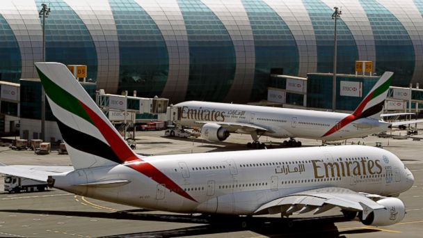 PHOTO: This May 8, 2014, file photo shows Emirates passenger planes at Dubai airport in United Arab Emirates.
