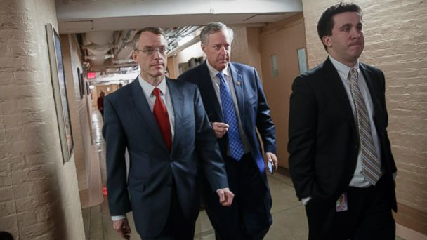 PHOTO: House Freedom Caucus Chairman Rep. Mark Meadows, R-N.C., center, whose conservative faction of the GOP bucked the Republican health care bill, heads to caucus meeting in the basement of the Capitol, in Washington, March 24, 2017.